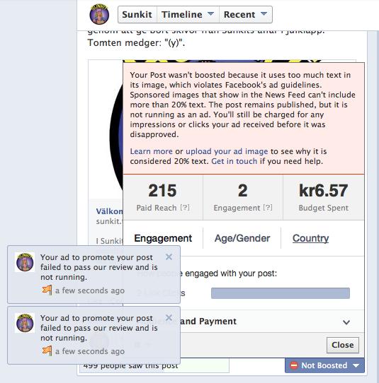 Meddelande om att annons fått nej av Facebook